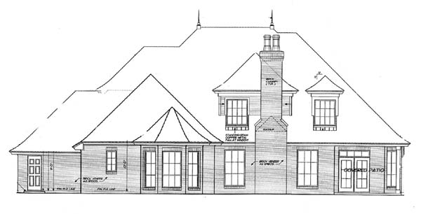 House Plan 66122 with 5 Beds, 5 Baths, 3 Car Garage Rear Elevation