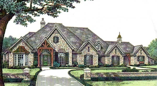 House Plan 66125 | European Style Plan with 3423 Sq Ft, 4 Bedrooms, 4 Bathrooms, 3 Car Garage Elevation