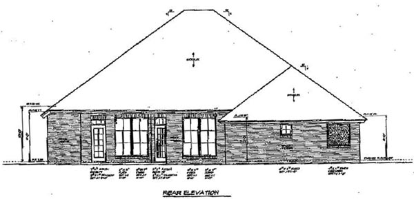House Plan 66128 with 3 Beds, 3 Baths, 3 Car Garage Rear Elevation