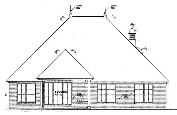 House Plan 66131 Rear Elevation