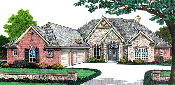 House Plan 66147 | Traditional Style Plan with 2628 Sq Ft, 3 Bedrooms, 3 Bathrooms, 3 Car Garage Elevation