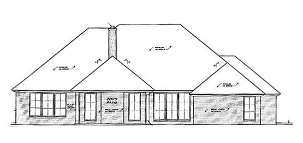Traditional Rear Elevation of Plan 66147