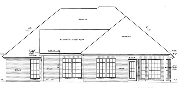 House Plan 66150 Rear Elevation