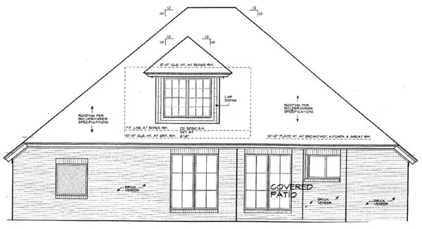 House Plan 66151 Rear Elevation
