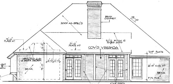 House Plan 66152 Rear Elevation