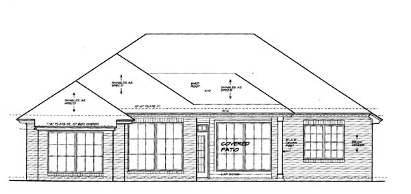 House Plan 66154 Rear Elevation