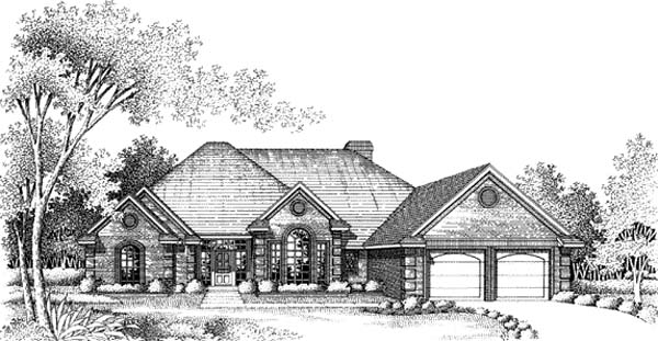 House Plan 66161 | European Style Plan with 2339 Sq Ft, 4 Bedrooms, 3 Bathrooms, 2 Car Garage Elevation