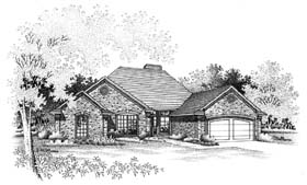 Traditional House Plan 66164 with 4 Beds, 3 Baths, 2 Car Garage Elevation