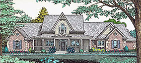 Farmhouse , French Country House Plan 66167 with 4 Beds, 3 Baths, 3 Car Garage Elevation