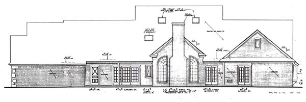 Farmhouse, French Country House Plan 66167 with 4 Beds, 3 Baths, 3 Car Garage Rear Elevation