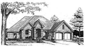 European House Plan 66171 with 4 Beds, 3 Baths, 2 Car Garage Elevation