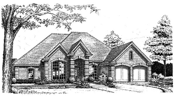 European House Plan 66171 with 4 Beds , 3 Baths , 2 Car Garage Elevation