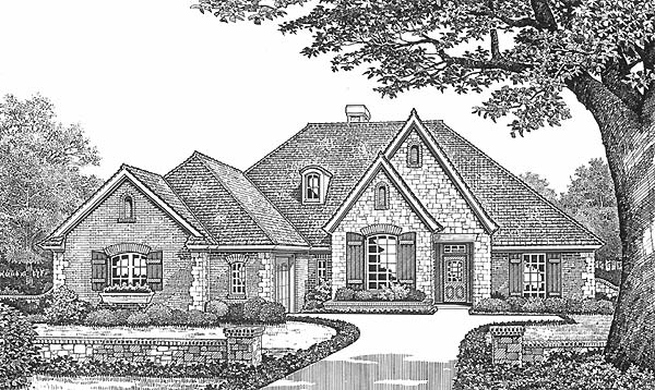 House Plan 66185 with 4 Beds, 3 Baths, 2 Car Garage Elevation