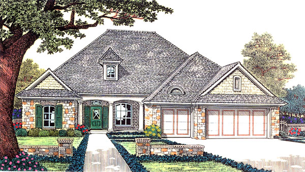 Traditional House Plan 66192 with 4 Beds, 3 Baths, 3 Car Garage Elevation