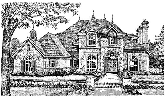 French Country, Victorian House Plan 66193 with 4 Beds, 4 Baths, 3 Car Garage Elevation