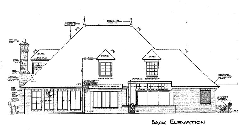 French Country Victorian Rear Elevation of Plan 66193