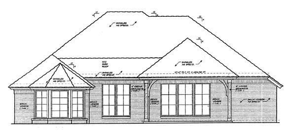 European House Plan 66195 Rear Elevation