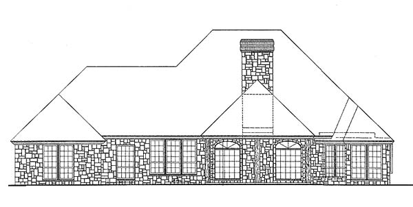European One-Story Rear Elevation of Plan 66200