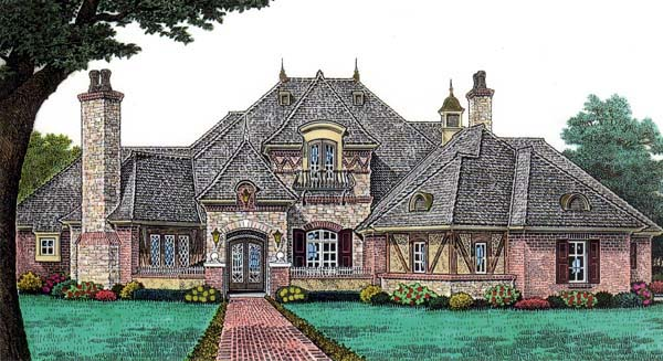 European , French Country House Plan 66202 with 4 Beds, 5 Baths, 3 Car Garage Elevation