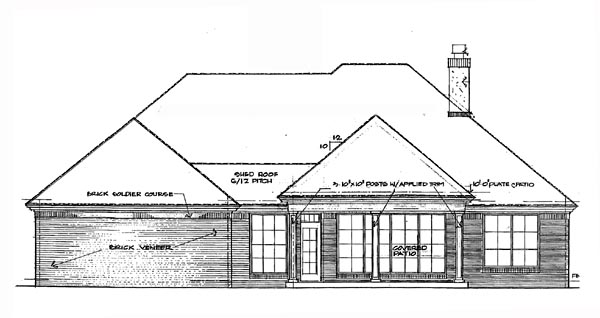 Rear Elevation of Plan 66205