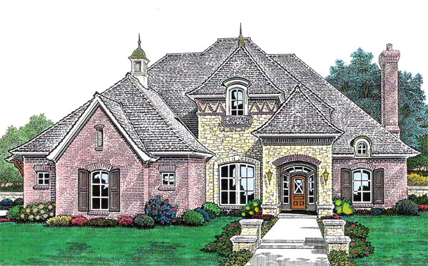 European , French Country House Plan 66211 with 4 Beds, 4 Baths, 3 Car Garage Elevation