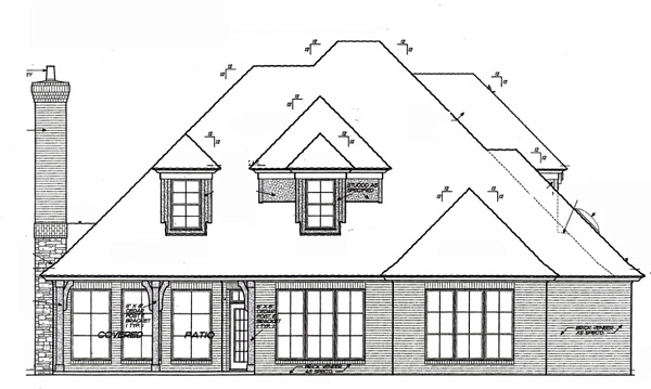 Rear Elevation of European   French Country   House Plan 66211
