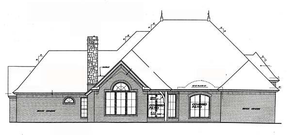 European House Plan 66212 Rear Elevation