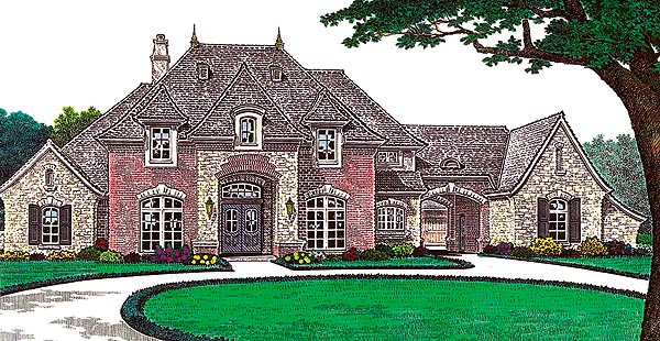 Tudor , French Country House Plan 66213 with 4 Beds, 5 Baths, 3 Car Garage Elevation