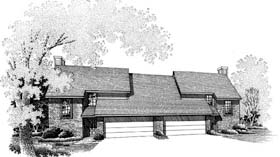 House Plan 66233   Style Plan with 2800 Sq Ft, 3 Bedrooms, 3 Bathrooms, 3 Car Garage Elevation