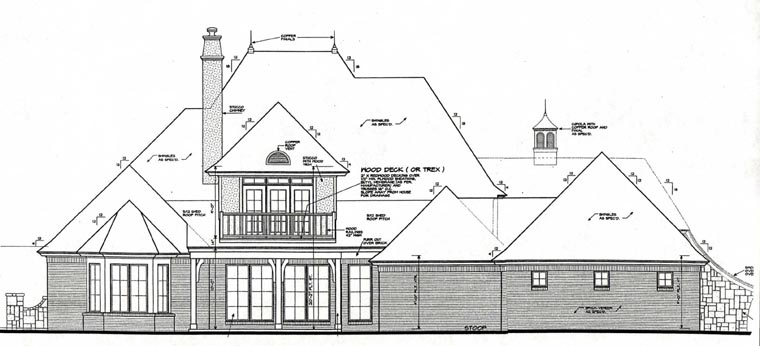 French Country Rear Elevation of Plan 66235