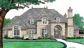 House Plan 66238 | Country French Country Southern Style Plan with 3428 Sq Ft, 4 Bed, 5 Bath, 3 Car Garage Elevation
