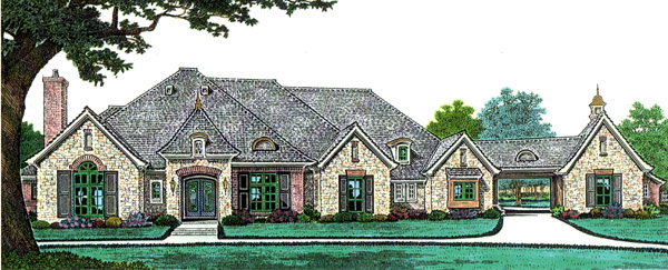Southern , French Country House Plan 66241 with 4 Beds, 3 Baths, 3 Car Garage Elevation