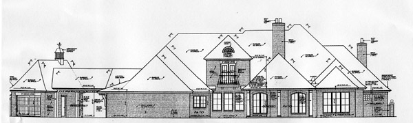 Southern , French Country House Plan 66241 with 4 Beds, 3 Baths, 3 Car Garage Rear Elevation