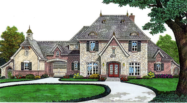 Country, French Country House Plan 66243 with 3 Beds, 3 Baths, 3 Car Garage Elevation