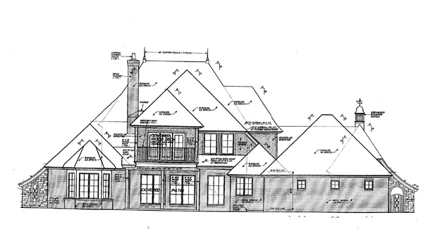 Country, French Country House Plan 66243 with 3 Beds, 3 Baths, 3 Car Garage Rear Elevation