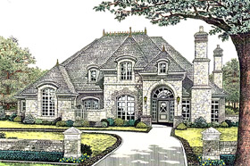 European , French Country House Plan 66245 with 4 Beds, 4 Baths, 3 Car Garage Elevation