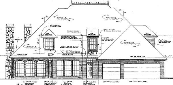 European French Country Rear Elevation of Plan 66245