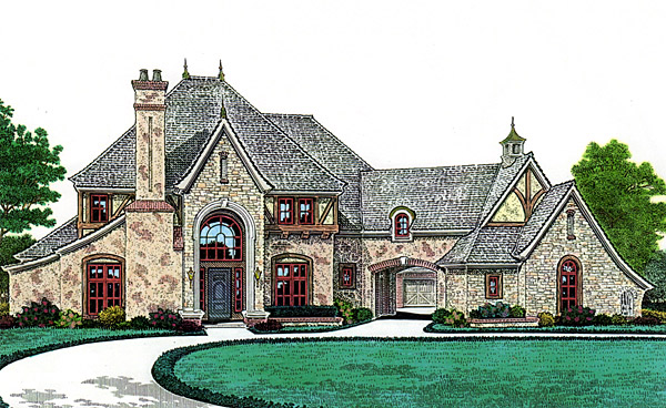 House plan 66247 at for French country house plans with porte cochere