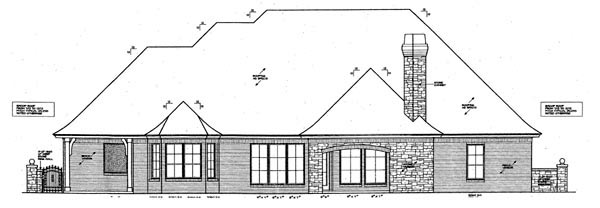 European House Plan 66251 Rear Elevation