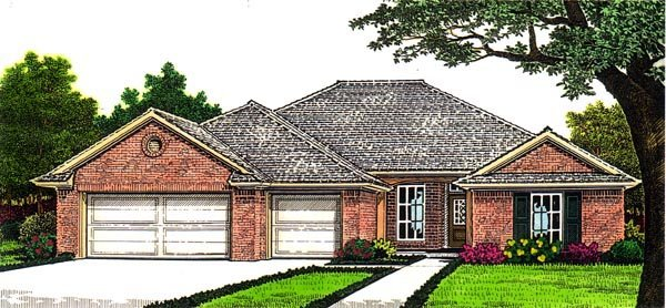 Country, European House Plan 66252 with 4 Beds, 3 Baths, 3 Car Garage Front Elevation