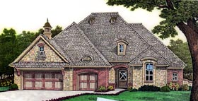 House Plan 66253 | European Style Plan with 2655 Sq Ft, 4 Bedrooms, 4 Bathrooms, 3 Car Garage Elevation