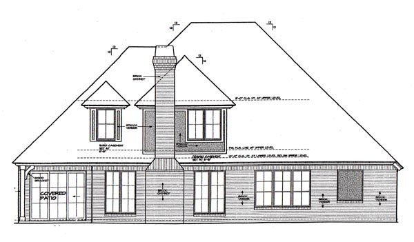 European , Rear Elevation of Plan 66253