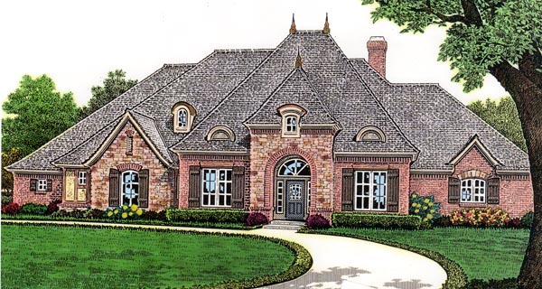 European House Plan 66254 with 3 Beds, 4 Baths, 3 Car Garage Elevation