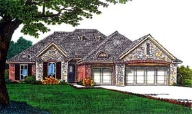 European House Plan 66256 with 3 Beds, 2 Baths, 3 Car Garage Elevation