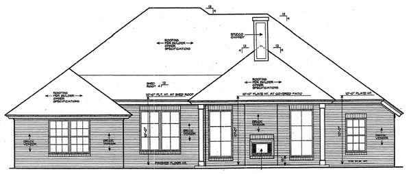 European House Plan 66256 with 3 Beds, 2 Baths, 3 Car Garage Rear Elevation