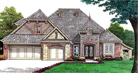 House Plan 66257 | European Style Plan with 2352 Sq Ft, 3 Bedrooms, 4 Bathrooms, 3 Car Garage Elevation