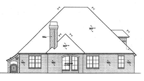 European House Plan 66257 Rear Elevation