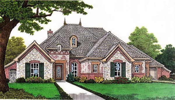 European House Plan 66258 with 4 Beds , 4 Baths , 3 Car Garage Elevation