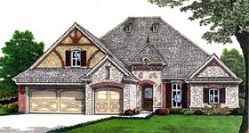 European House Plan 66260 with 3 Beds, 4 Baths, 3 Car Garage Elevation