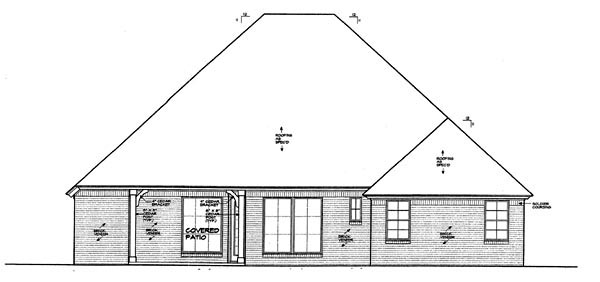 European House Plan 66260 Rear Elevation